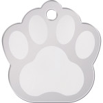 Chrome Large Paw Quick-Tag - Etched Center