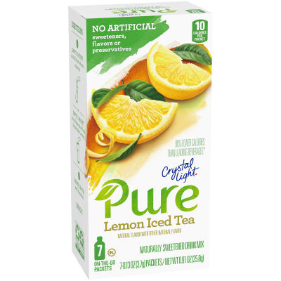 Crystal Light Pure Lemon Iced Tea On-The-Go Powdered Drink Mix 7 - 0.13 oz Packets