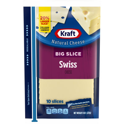 Kraft Big Slice Swiss Natural Cheese Slices 10 slices - 8 oz Wrapper