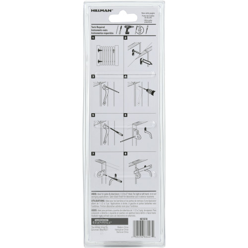 Hardware Essentials Black Thumb Latch - In Swinging Gates up to 1-3/4