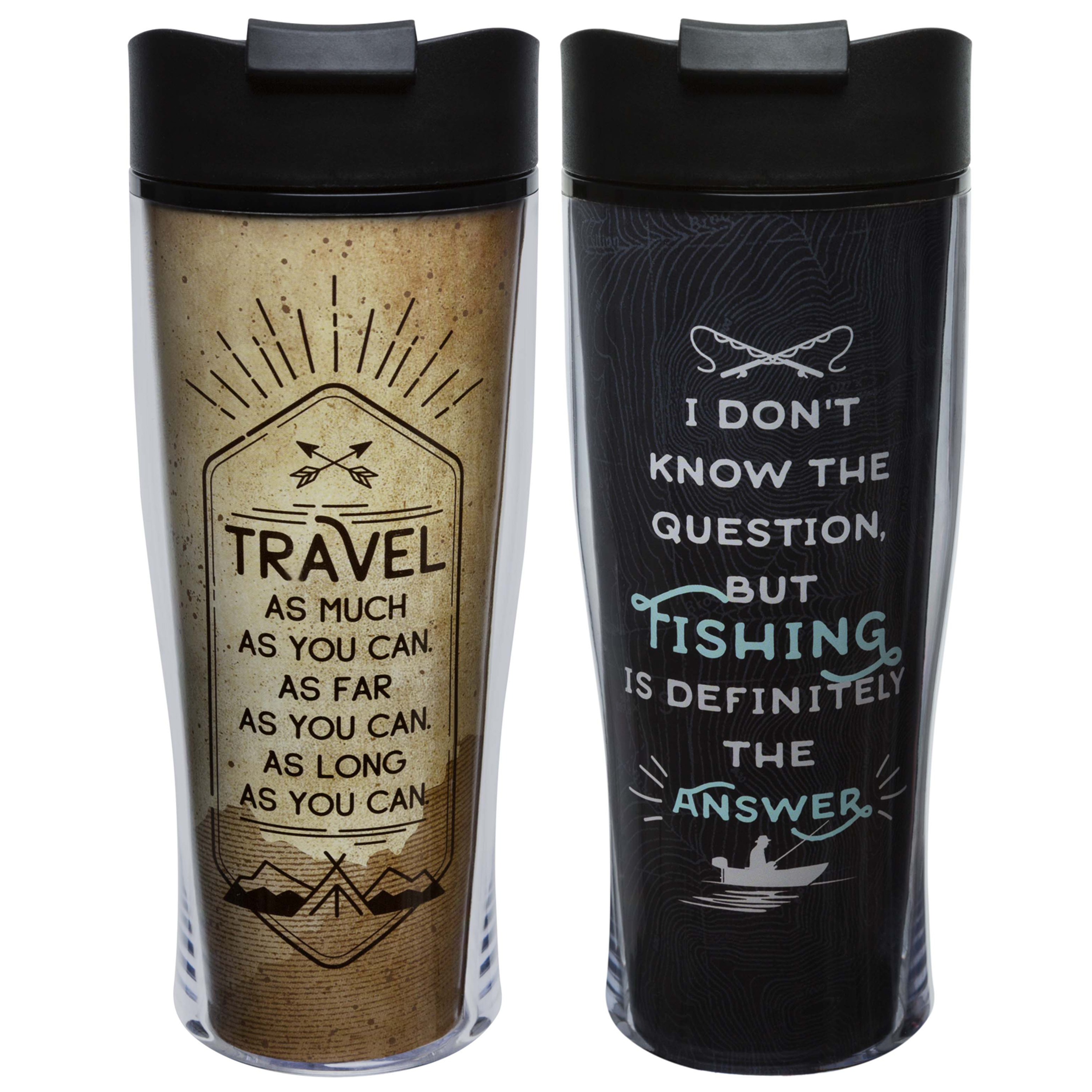 Adventurer 15 ounce Insulated Tumbler, Travel & Fishing, 2-piece set slideshow image 1