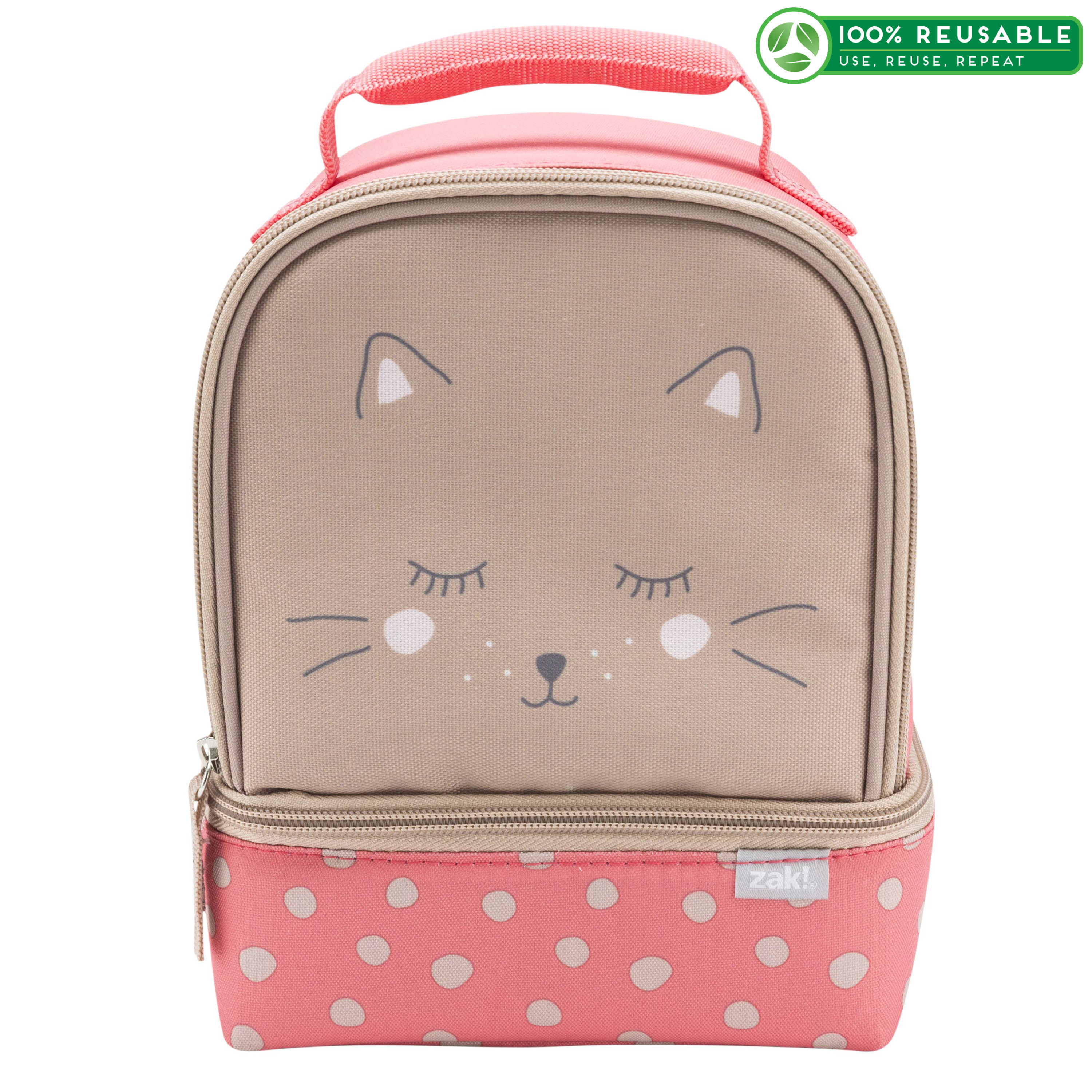 Soft Lines 2-compartment Reusable Insulated Lunch Bag, Kitties slideshow image 1