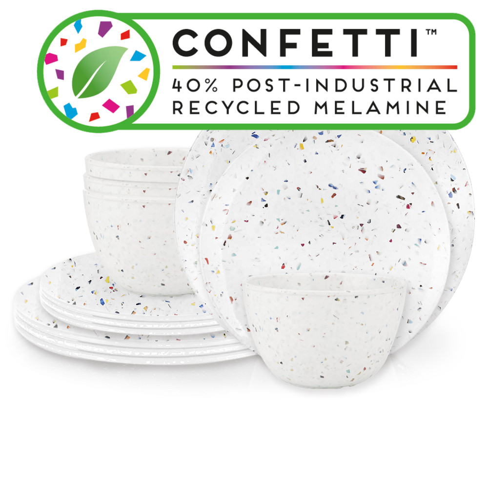 Confetti Dinnerware Set, White, 12-piece set slideshow image 1
