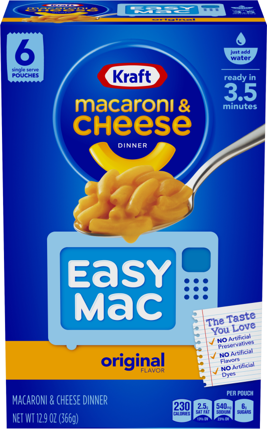 Kraft Easy Mac Original Flavor Macaroni & Cheese Dinner 12.9 oz Box