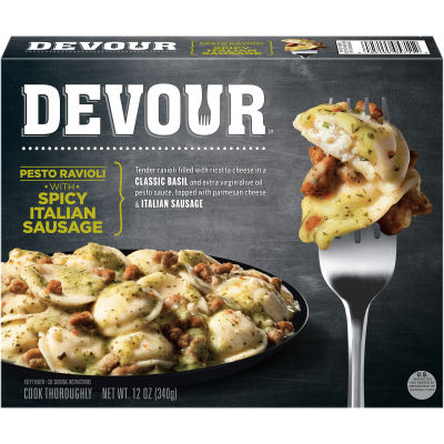 DEVOUR Pesto Ravioli with Spicy Italian Sausage Frozen Meal, 12 oz Box