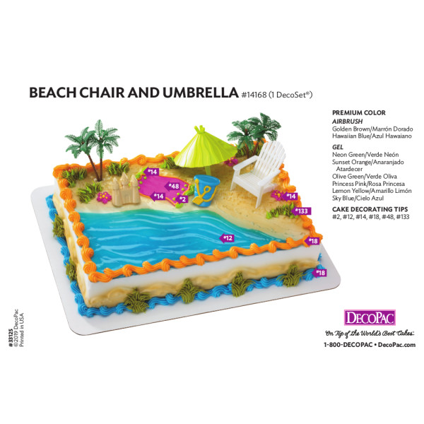 Beach Chair & Umbrella Cake Decorating Instruction Card