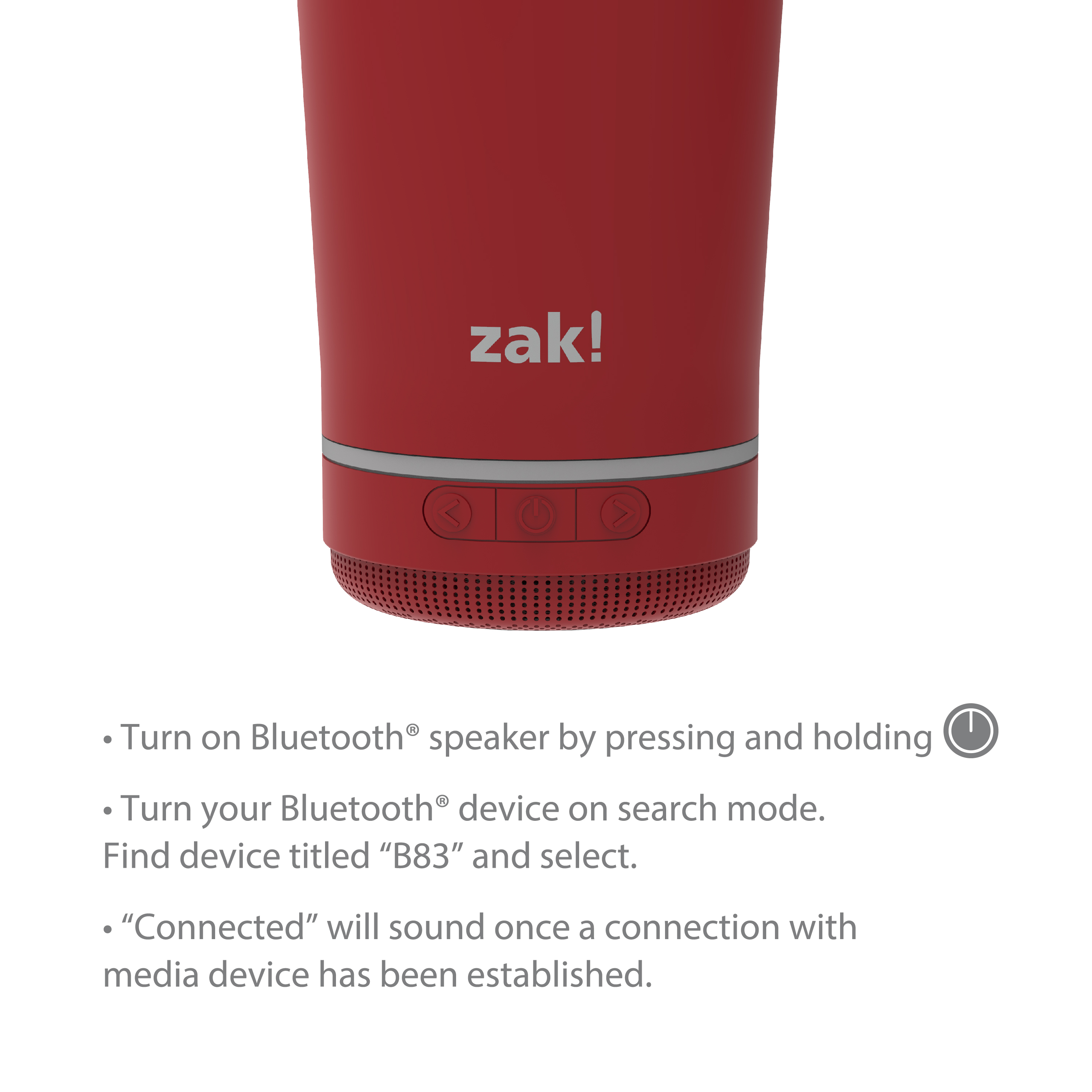Zak Play 18 ounce Stainless Steel Tumbler with Bluetooth Speaker, Red slideshow image 8