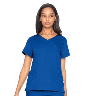 Urbane Ultimate 6 Pocket Mock Wrap Scrub Top for Women: Modern Tailored Fit, Luxe Soft Stretch Fabric Medical Scrubs 9577-