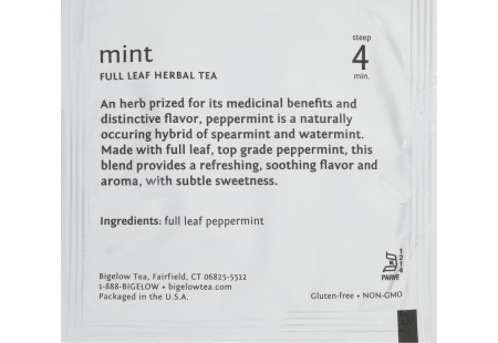 steep cafe by Bigelow full leaf mint herbal tea pyramid bag in overwrap - Ingredient list