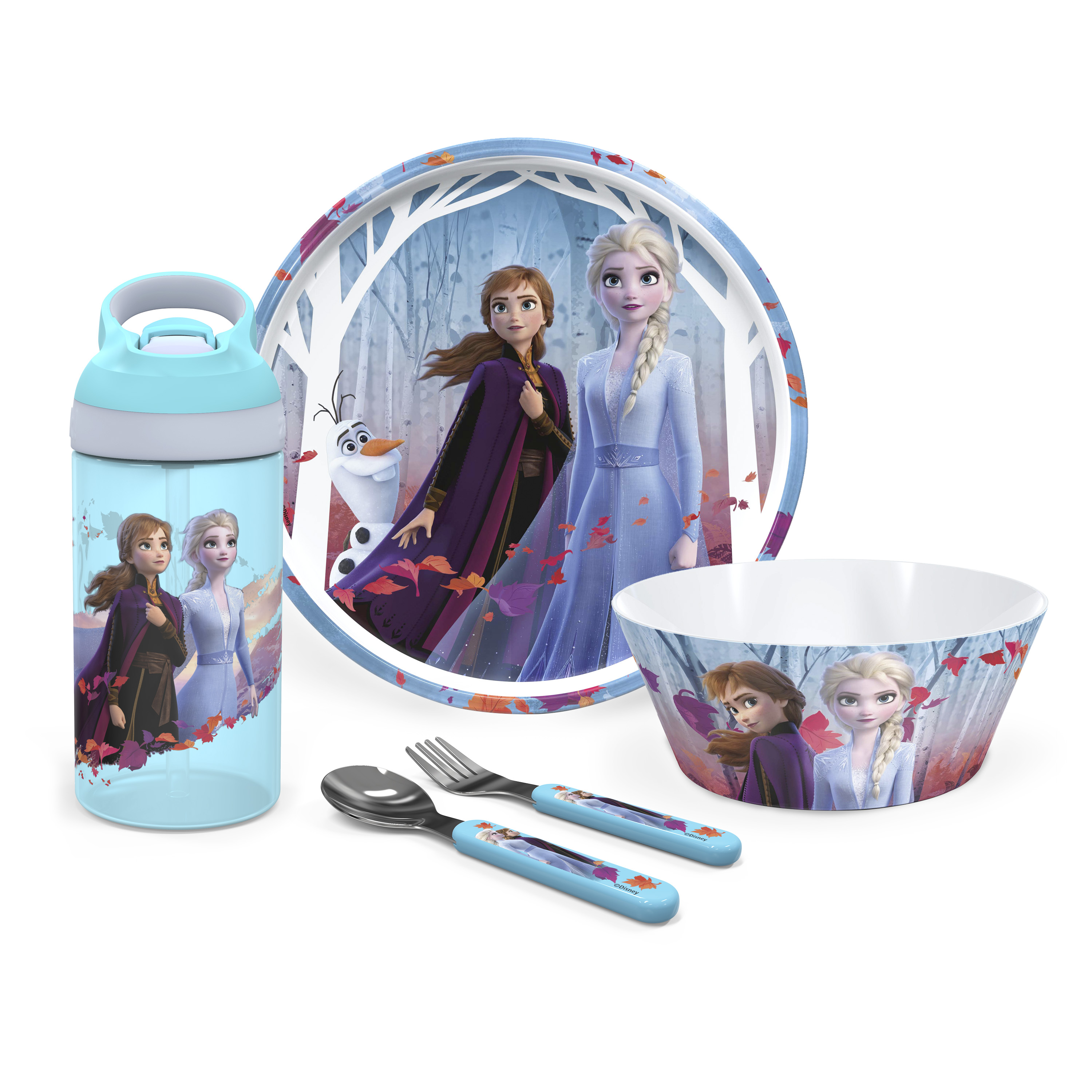 Disney Frozen 2 Movie Dinnerware Set, Anna and Elsa, 5-piece set slideshow image 1