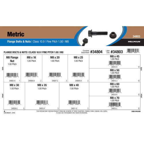 Class 10.9 Metric Flange Bolts & Nuts Assortment (M8-1.00 Fine Pitch)
