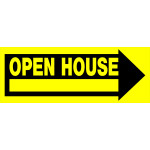 "Open House Arrow Sign with Frame, 9"" x 24"""