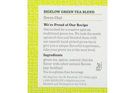 Ingredient panel of Green Chai Green Tea box