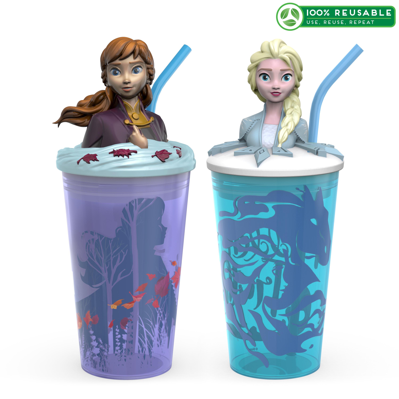 Disney Frozen 2 Movie 15 ounce Kid's Tumbler, Anna and Elsa, 2-piece set slideshow image 1