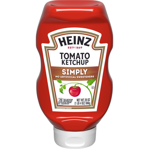 SIMPLY HEINZ Ketchup Inverted Bottle, 20 oz. Bottle (Pack of 30)