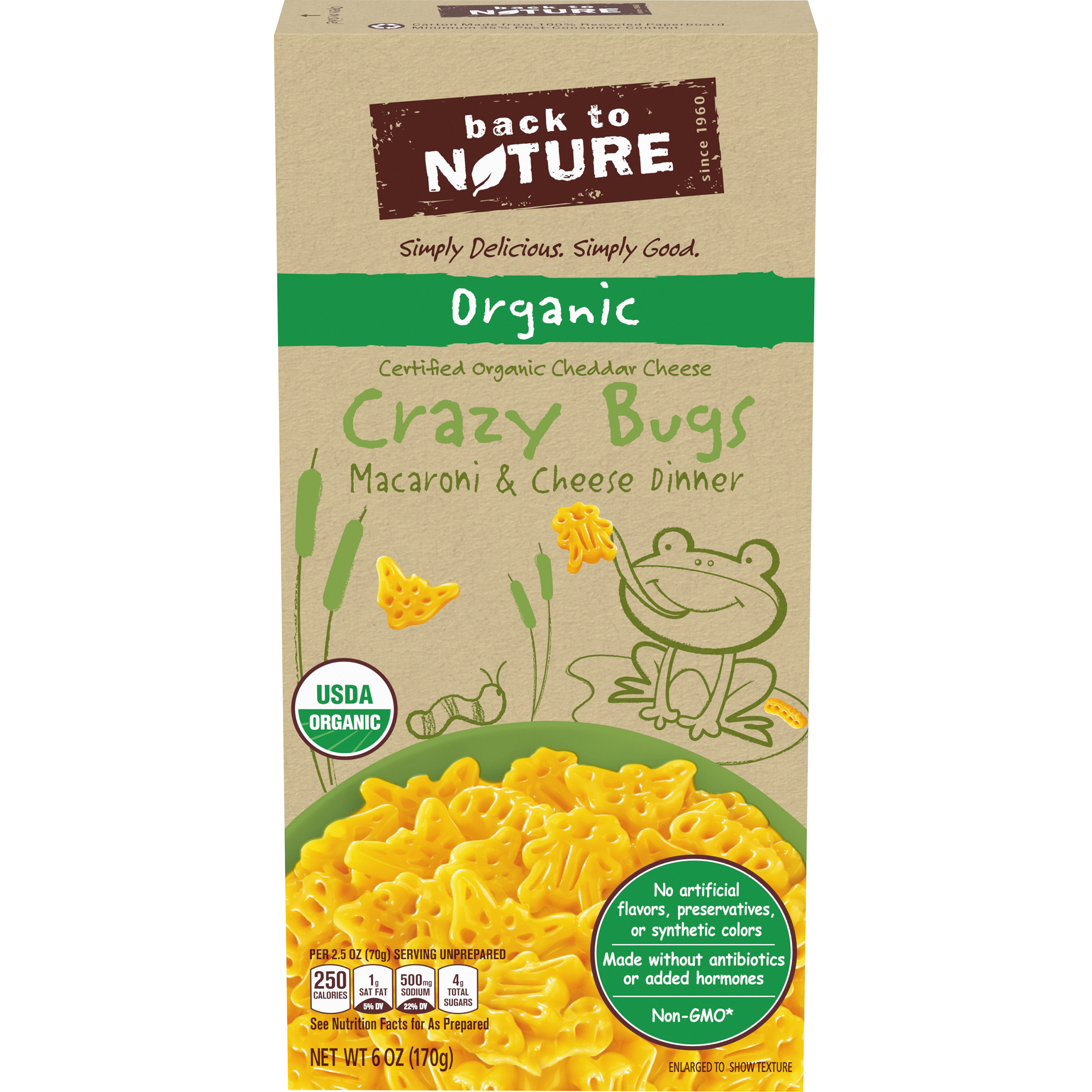 BACK TO NATURE Organic Crazy Bugs Macaroni & Cheese Dinner 6 oz. Box
