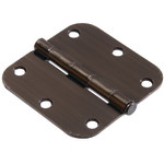 "Hardware Essentials 5/8"" Round Corner Pewter Door Hinges (3-1/2"")"