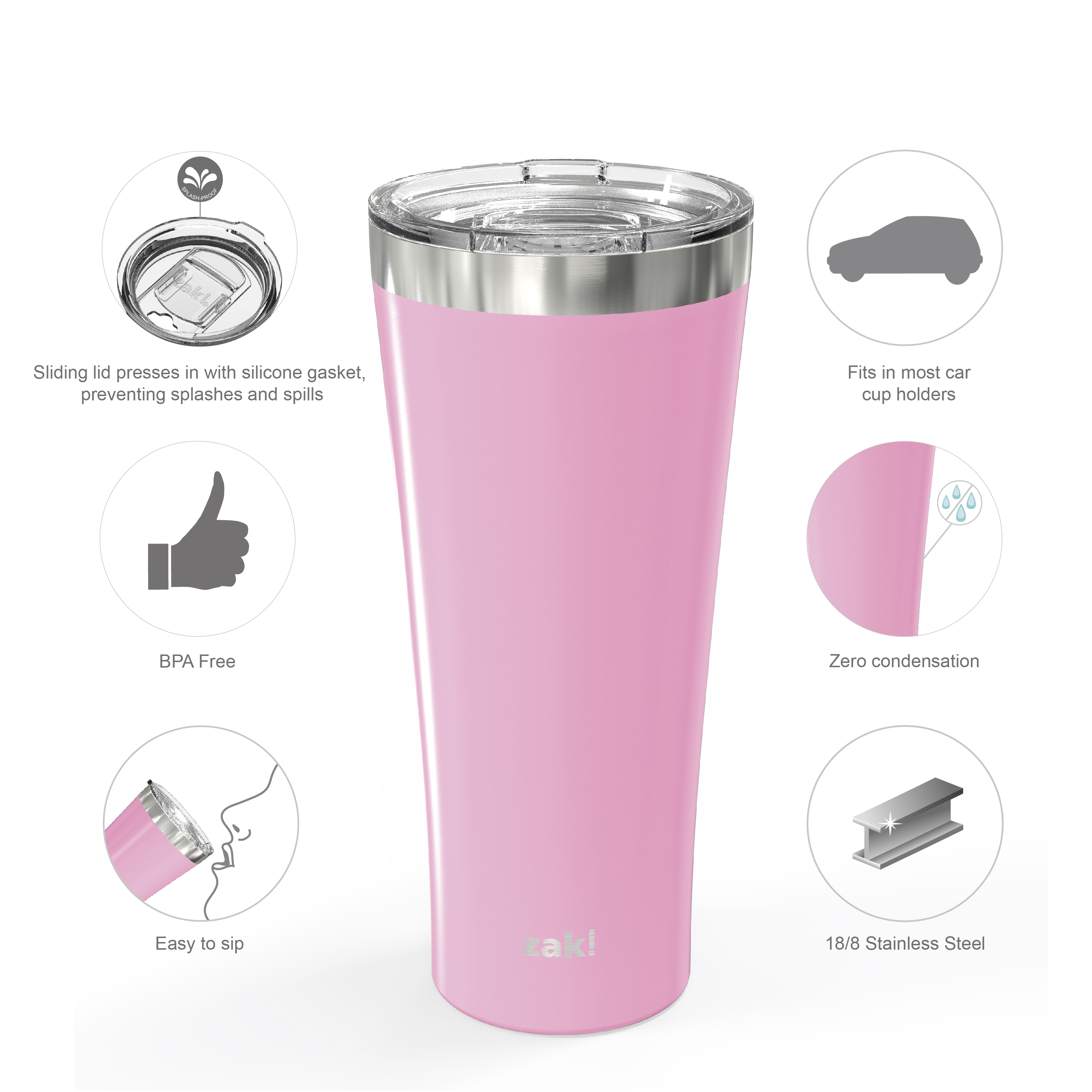 Alpine 30 ounce Stainless Steel Vacuum Insulated Tumbler with Straw, Lilac slideshow image 6