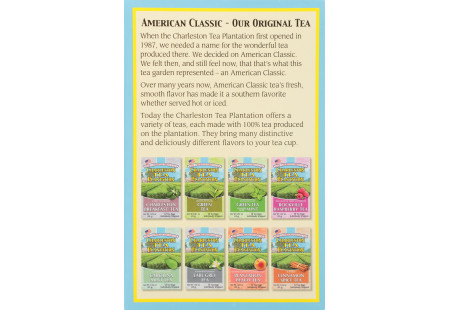 Side panel American Classic Tea box -shwoing variety