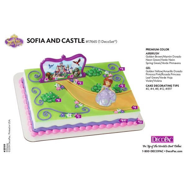 Sofia the First and Castle Cake Decorating Instruction Card