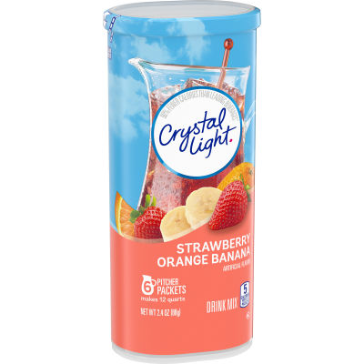 Crystal Light Strawberry Orange Banana Powdered Drink Mix, 6 Pitcher Packets, 2.4 oz Canister