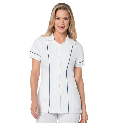 Landau Essentials Button Down Student Scrub Top for Women: Modern Tailored Fit, Notched Collar, 3 Pocket 8047-