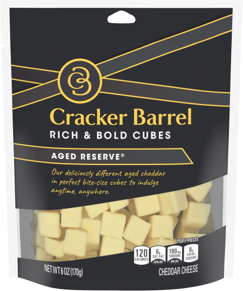 Cracker Barrel Cubes Aged Reserve Cheddar, 6oz Bag