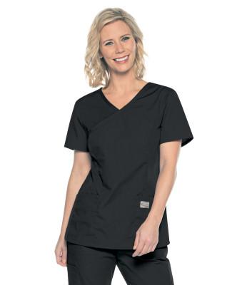 Landau ScrubZone Mock Wrap Scrub Top for Women:2 Pocket, Modern Relaxed Fit 70228-