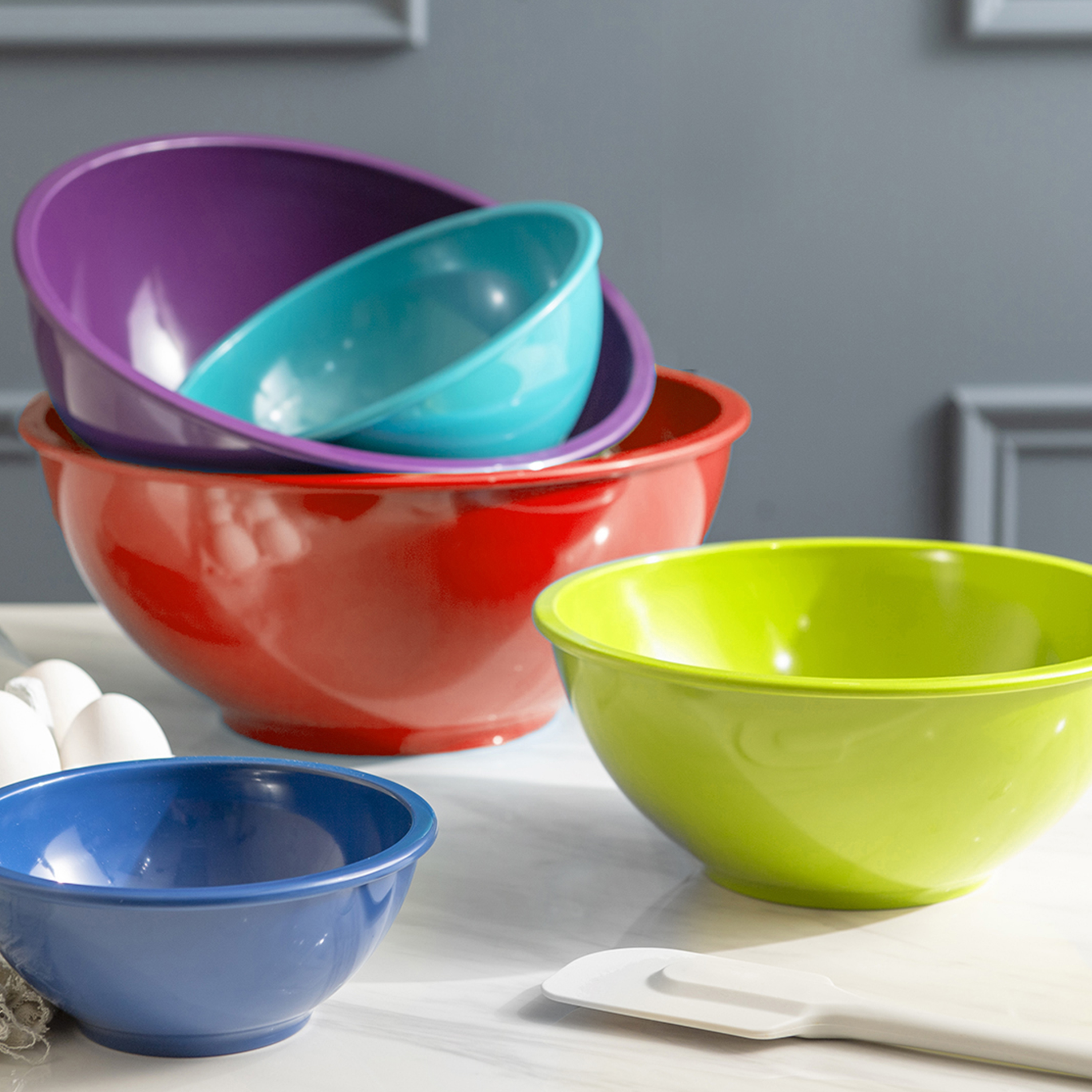 Colorway Plastic Serving and Mixing Bowl Set, Blue and Red, 5-piece set slideshow image 6