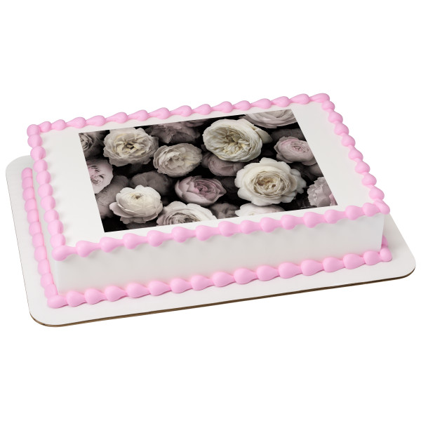 Black & White Floral PhotoCake® Edible Image®