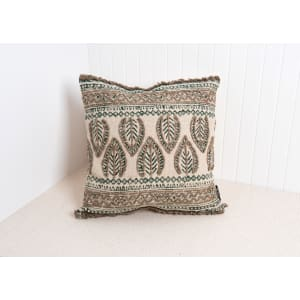 Foliage - Embroidered Pillow with Block Print