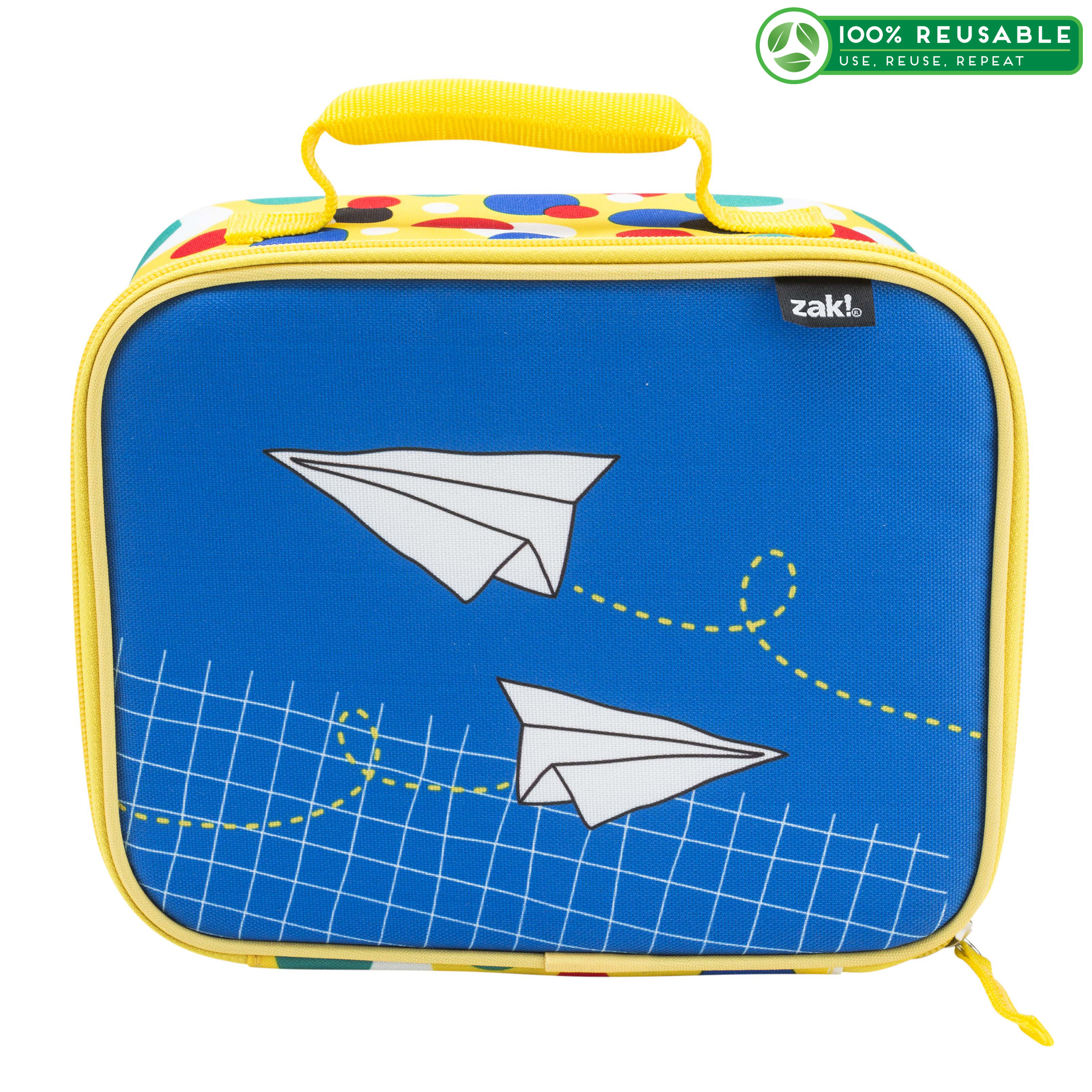 Grid Lock Insulated Reusable Lunch Bag, Planes slideshow image 1