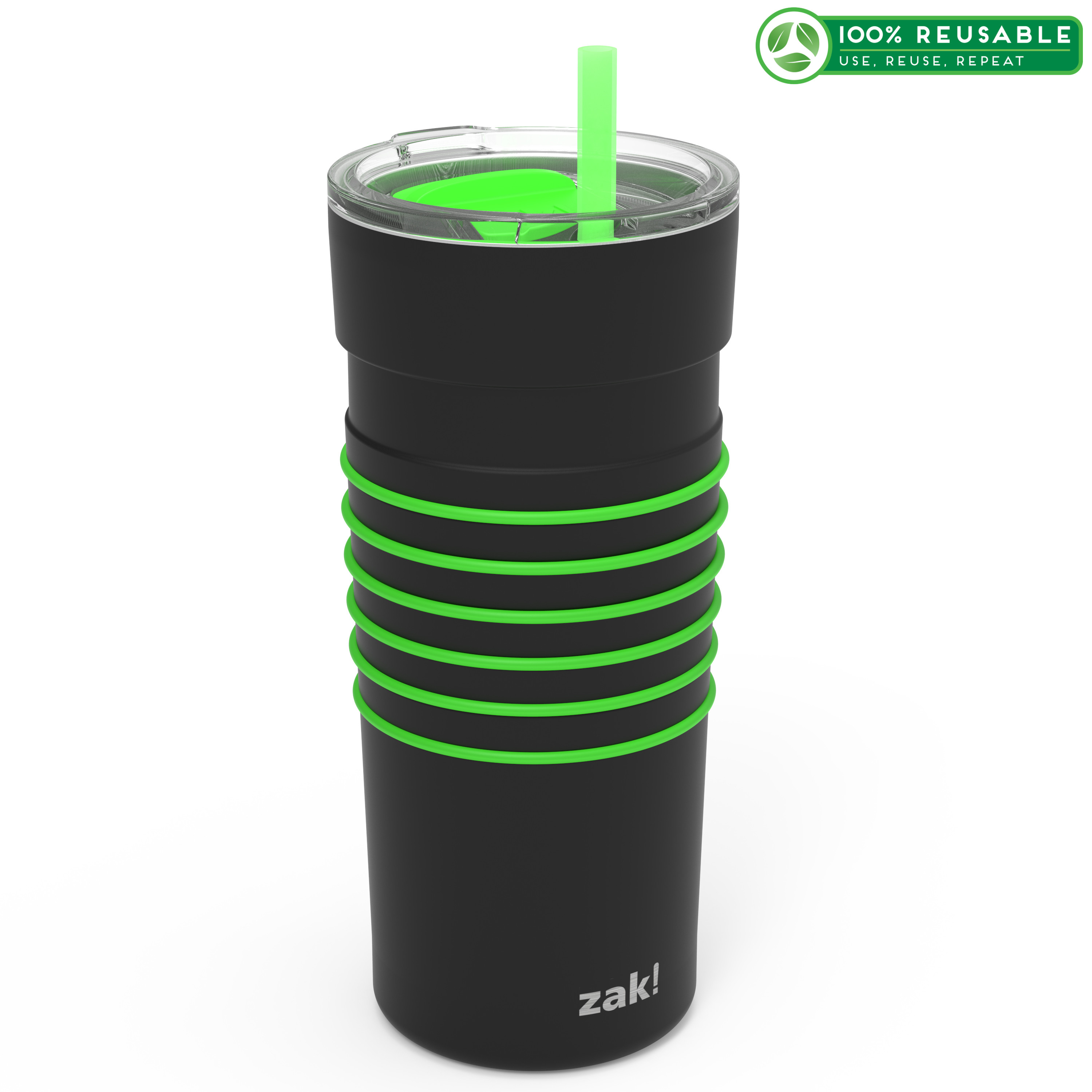 HydraTrak 20 ounce Vacuum Insulated Stainless Steel Tumbler, Black with Green Rings slideshow image 1