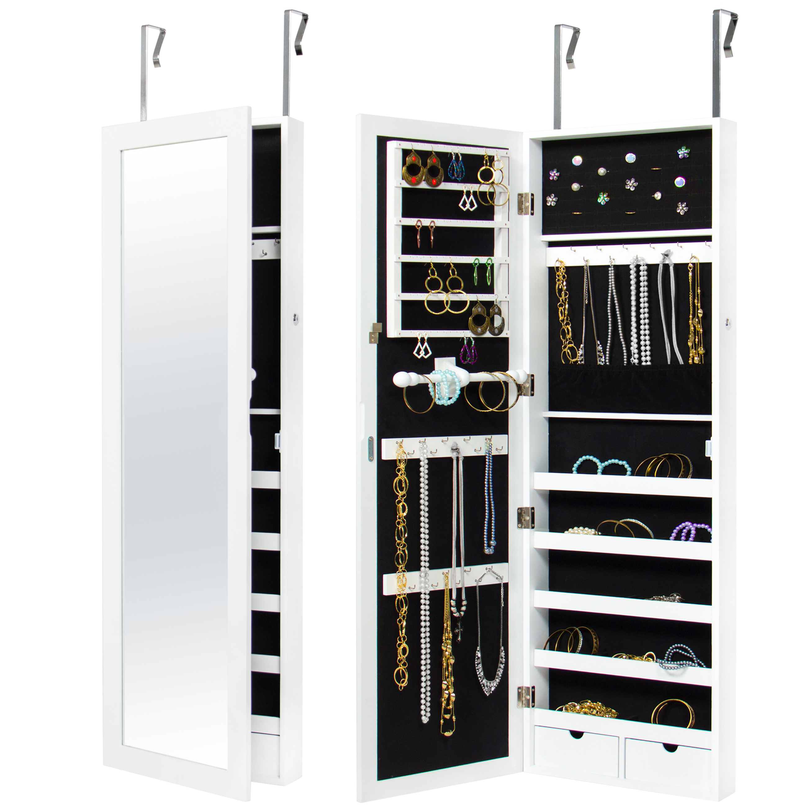 Mirrored Hanging Jewelry Cabinet Armoire Organizer Wall