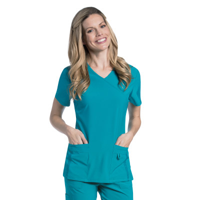 Urbane Performance 4 Pocket Mock Wrap Scrub Top for Women: Modern Tailored Fit, Extreme Stretch, Moisture Wicking, Medical Scrubs 9046-Urbane