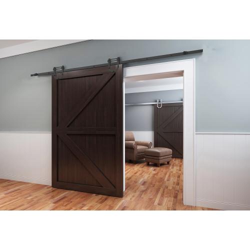 Black Double Side Mount Sliding Barn Door Hardware Kit