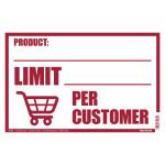 Hillman Limit Per Customer Sign (COVID-19)