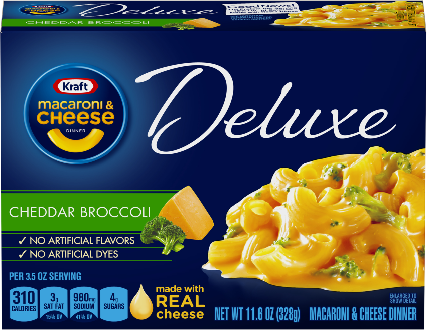 Kraft Deluxe Cheddar Broccoli Macaroni & Cheese Dinner 11.6 oz Box image