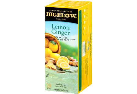 Right facing Lemon Ginger Herbal Tea Box of 28 tea bags