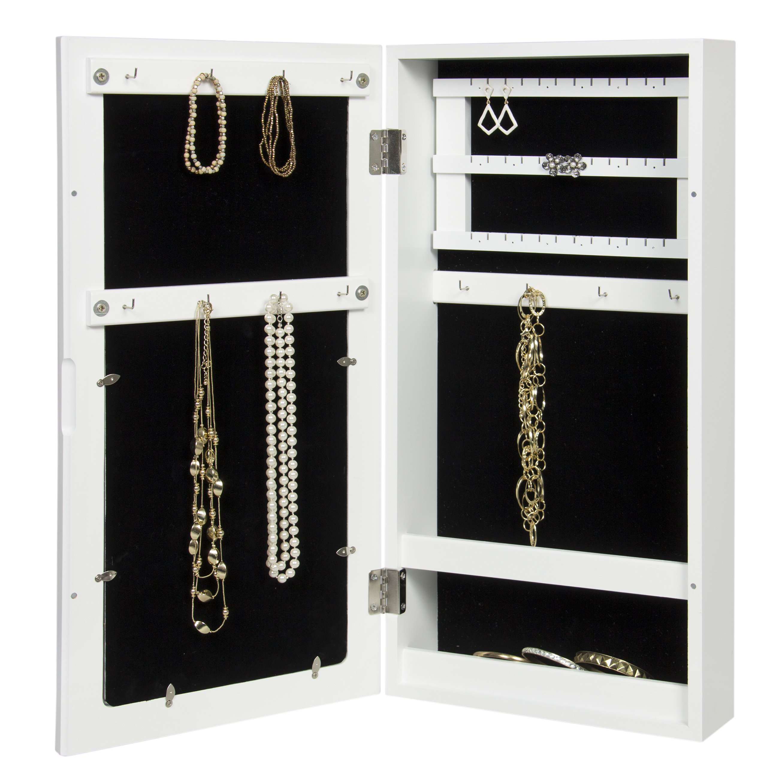 Wall mounted jewelry armoire cabinet organizer w 4 for Picture frame organization wall