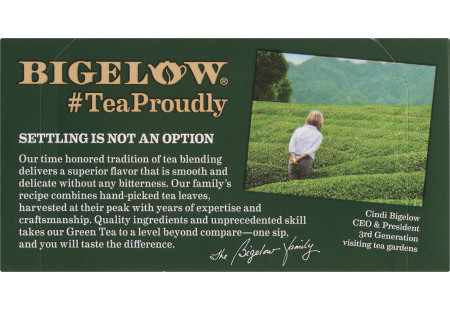Bigelow Decaffeinated Green Tea bag in foil overwrap