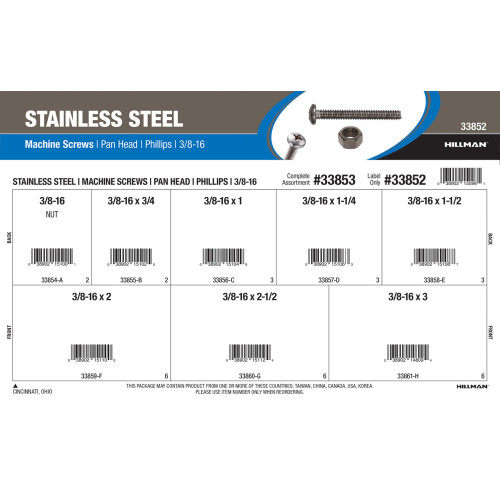 Stainless Steel Pan-Head Phillips Machine Screws Assortment (3/8