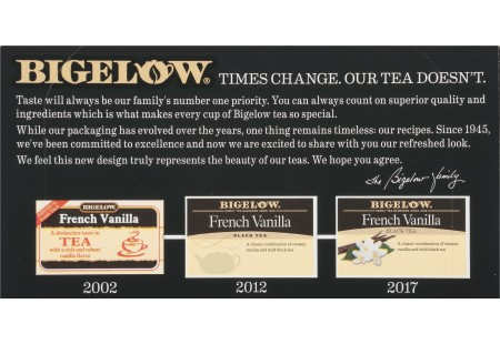 Top of French Vanilla tea box