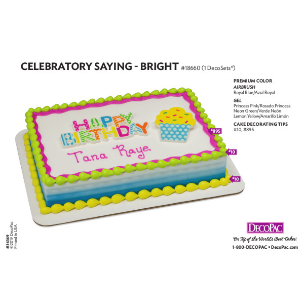 Bright Celebratory Sayings Cake Decorating Instruction Card