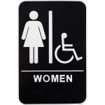 Women's Handicapped Restroom Adhesive Sign with Braille