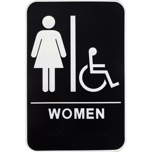 Women's Handicapped Restroom Sign with Braille, 6