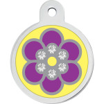 Purple Epoxy Flower with Crystals Large Circle Quick-Tag