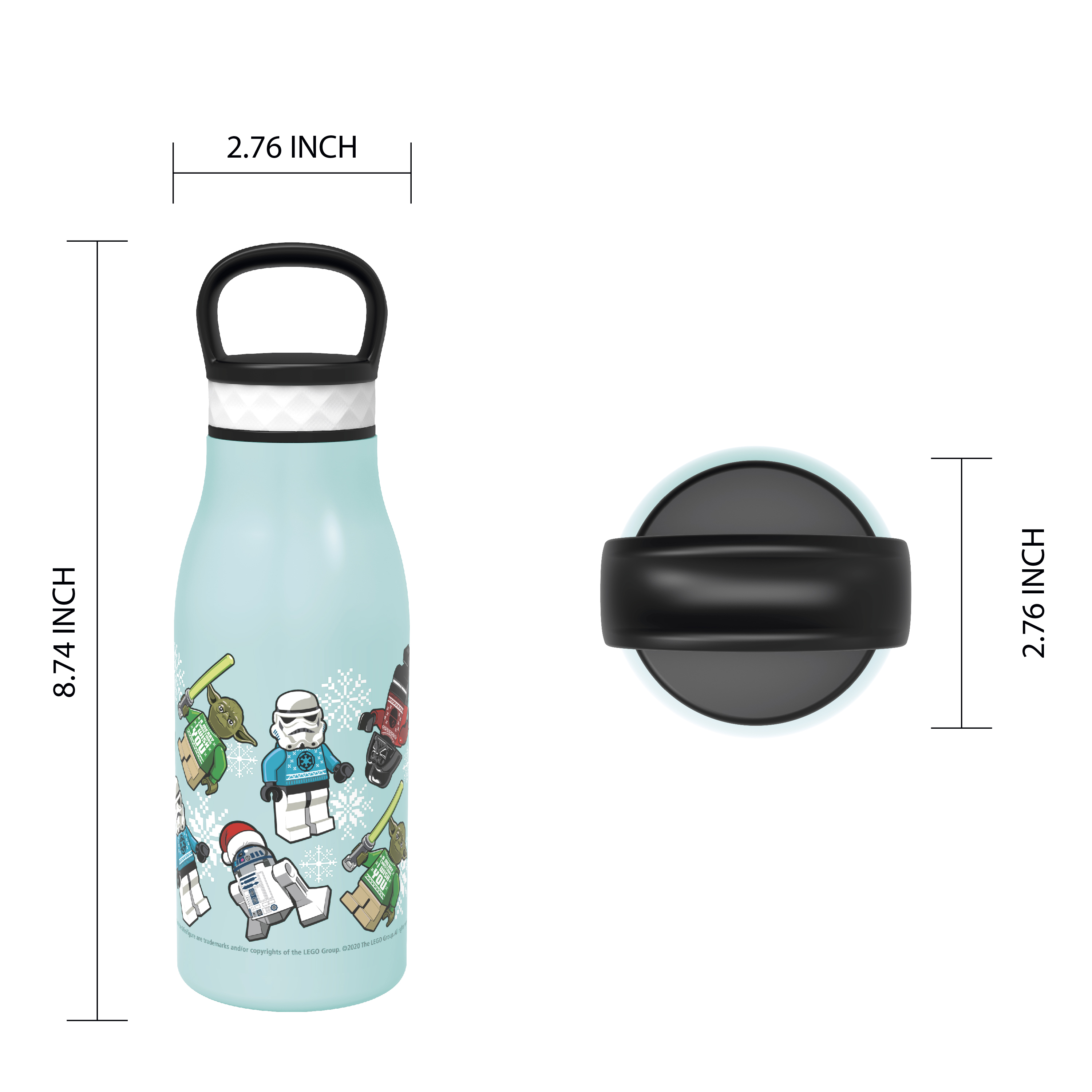 Lego Star Wars 12 ounce Stainless Steel Vacuum Insulated Water Bottle, Darth Vader, Stormtroopers and Yoda slideshow image 7