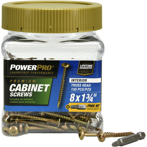 Power Pro Interior Cabinet Mounting Screws #8 x 1-3/4