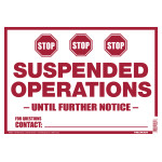 Hillman Suspended Operations Sign (COVID-19)